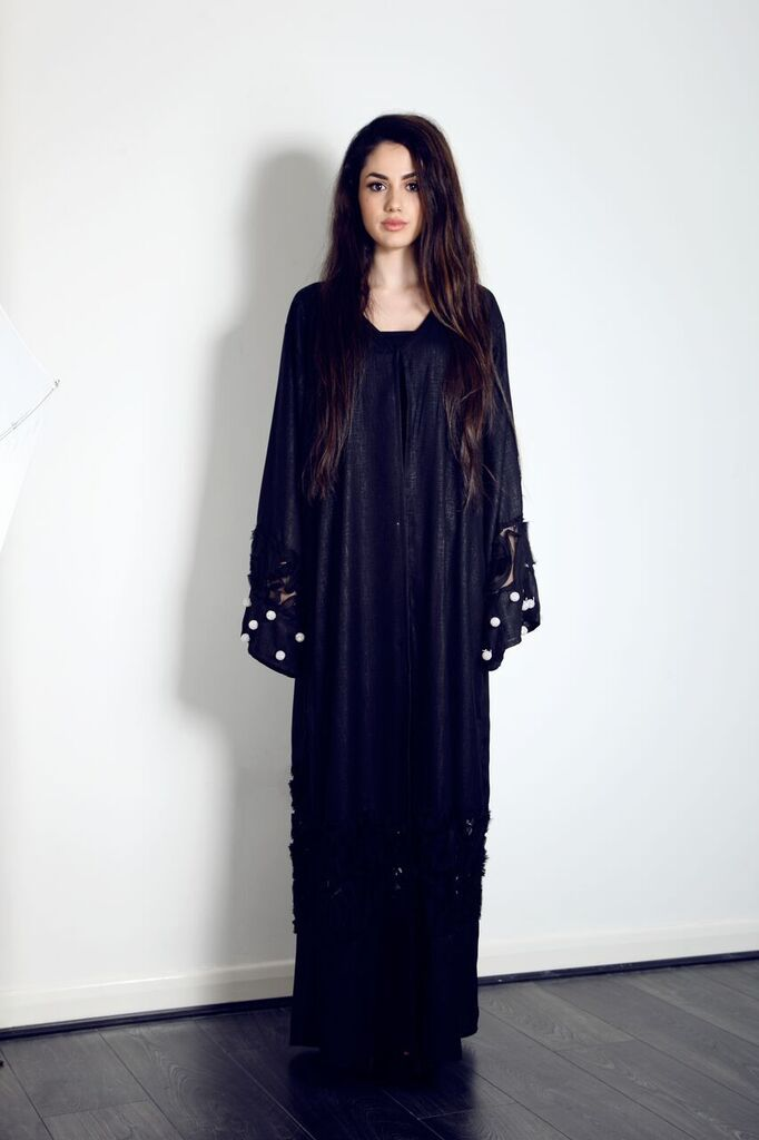 This stunning linen, embellished Abaya is on our website, get it now for only £75