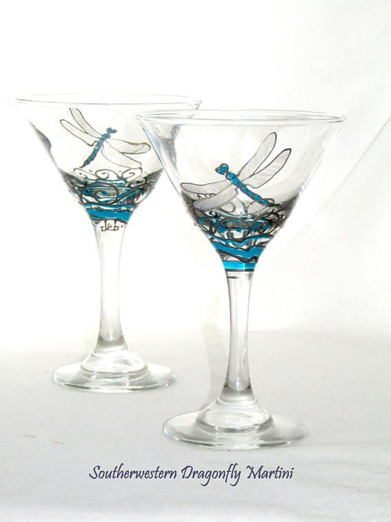 Dragonfly Martini Glasses Southwestern Art Decor Hand Painted Glassware Blue Martini Glasses ~ Pair Southwestern art styled martini glasses in blue turquoise and silver pewter motif. The dragonfly glassware is 7 ounce glass featuring a hand painted sleeping beauty blue turquoise