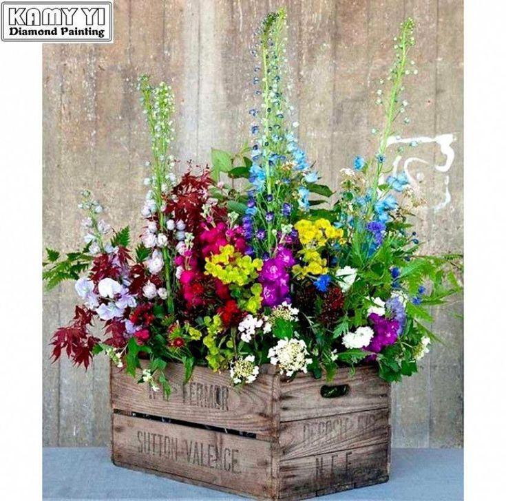 5d Diamond Painting Wooden Flower Box Kit Beautiful Flowers Garden Wooden Flower Boxes Flower Boxes