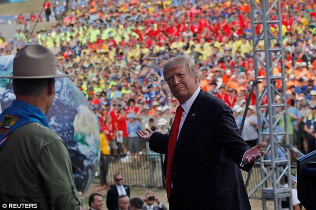 """Boy Scouts for Trump! A massive crowd of nearly 40,000 people  chanted """"We Love Trump!"""" at the National Scout Jamboree in Glen Jean, West Virginia."""