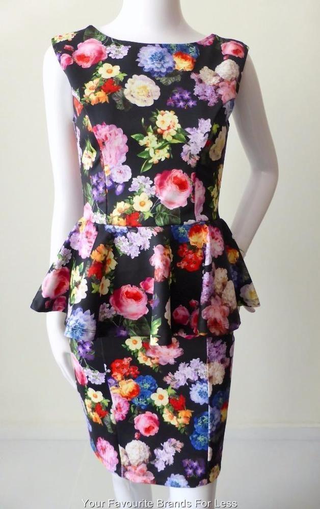 Top Shop Sleeveless Floral Peplum Dress Size 10 Us 6 Eur 38 Tops