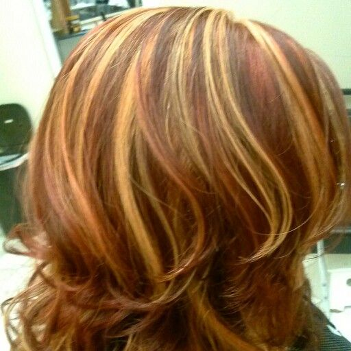 blond and copper highlights on red hair hair