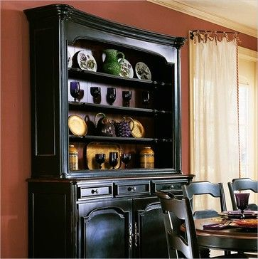Hooker Furniture Indigo Creek Hutch in Rub-Through Black (Smaller Version) transitional buffets and sideboards