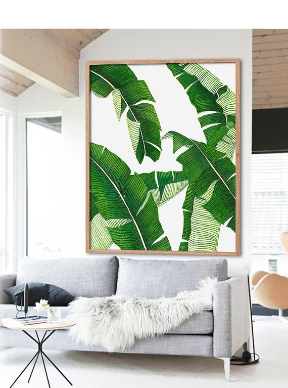 This listing is for a DIGITAL FILE of a printable watercolor Banana Leaf poster. Available in 8 sizes, please choose from the drop down box on the top right side. The file will be sent to you within 24 hours of purchase.  SET OF 3: this graphic matches: https://www.etsy.com/listing/270880721/ https://www.etsy.com/listing/170594383/  Customizing size will cost more as it requires me putting additional work on the file.  *I DO NOT SELL PAPER POSTERS, NO PAPER POSTER WILL BE SENT TO YOU*   LIST…