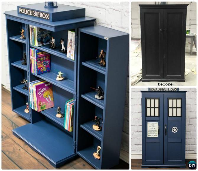 DIY Cabinet Tardis Bookshelf Media Storage Instructions-Tardis #Bookshelf #Furniture Ideas Free Plan