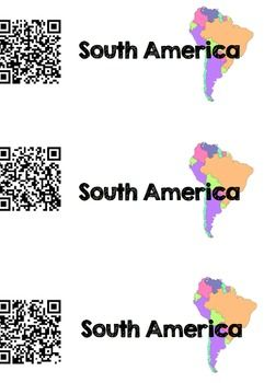 Cut apart the South America QR codes and spread around the classroom.Using iPads…