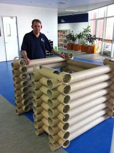 Carpet Tube Lincoln Log style log fort tutorial