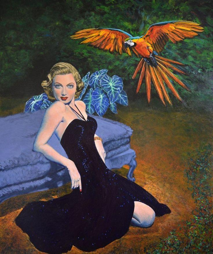 PRICE CUT HUGE painting macaw bird surreal retro art Lana Turner Jane Ianniello
