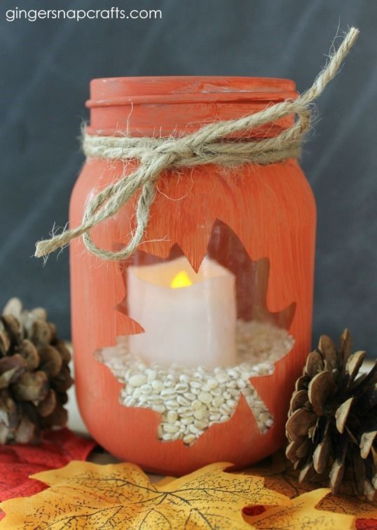 fall craft ideas for teens a fall candle in a jar with a leaf see through 6548