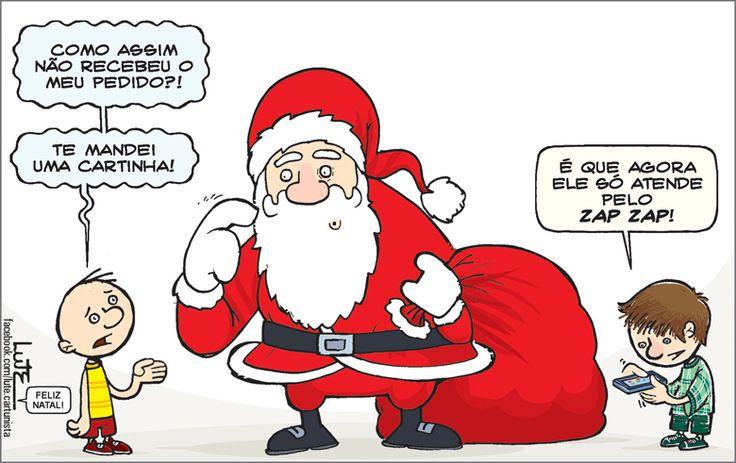 Charge do Lute sobre o Natal (24/12/2016) #Charge #Tecnologia #Natal #PapaiNoel #WhatsApp #Cartinha #HojeEmDia