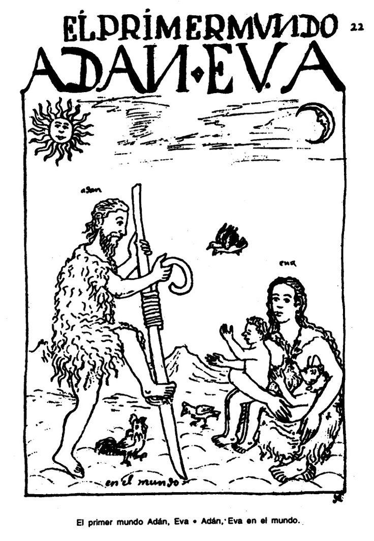 El primer mundo Adán, Eva. Adán, Eva en el mundo.