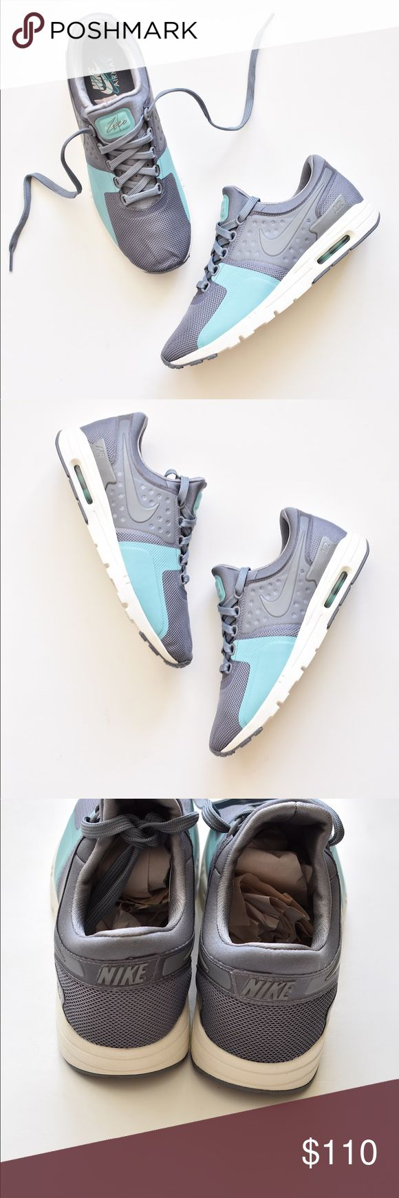 NIKE Women's Air Max Zero Cool Grey Teal Sneaker NWOB. Women's Nike Air Max Zero Shoe blends modern style with heritage roots. Last photo model wearing same style in different color.  Leather and textile upper gives a premium look. Visible Max Air unit provides lightweight cushioning. Bootie construction for a snug, supportive fit. Injected unit sole offers lightweight cushioning. Rubber outsole delivers excellent traction. Nike Shoes Athletic Shoes