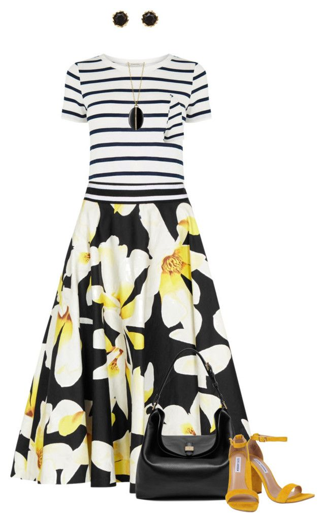 """""""Floral Skirt for Spring"""" by dawn-scott ❤ liked on Polyvore featuring Oasis, Alice + Olivia, Monica Rich Kosann, Sam Edelman, Mulberry and Steve Madden"""