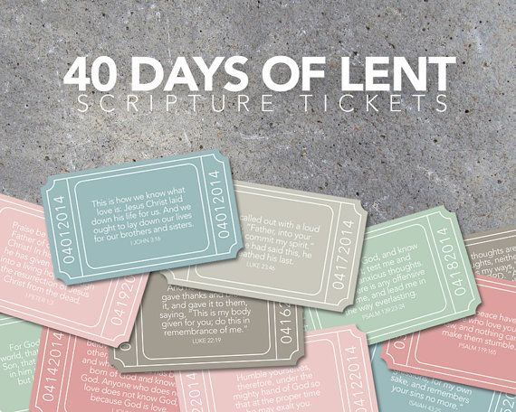 40 Days of Lent Scripture Tickets  by Studio120Underground on Etsy, $6.00