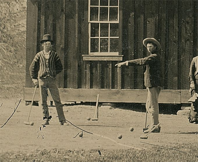 The outlaw, Billy the Kid, whose real name was William Henry McCarty Jr., was playing croquet with his gang of Lincoln County Regulators in late summer 1878 when this 4-by-5-inch tintype image was captured.