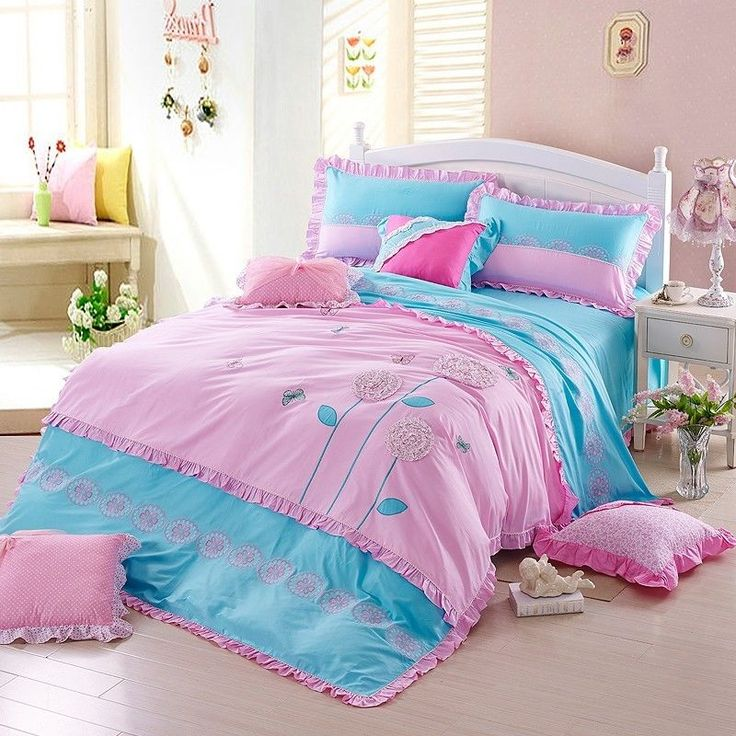Pink Girls Embroidery Floral Duvet Cover Set Blue Child