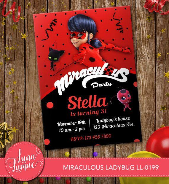 Miraculous Ladybug Invitation Card, Prodigious ladybug Party, Birthday Card Ladybug Disney LL-0199