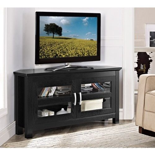 "Corner Tv Entertainment Center Brown TV Stand For TVs Up To 48"" Double Doors New #Generic"