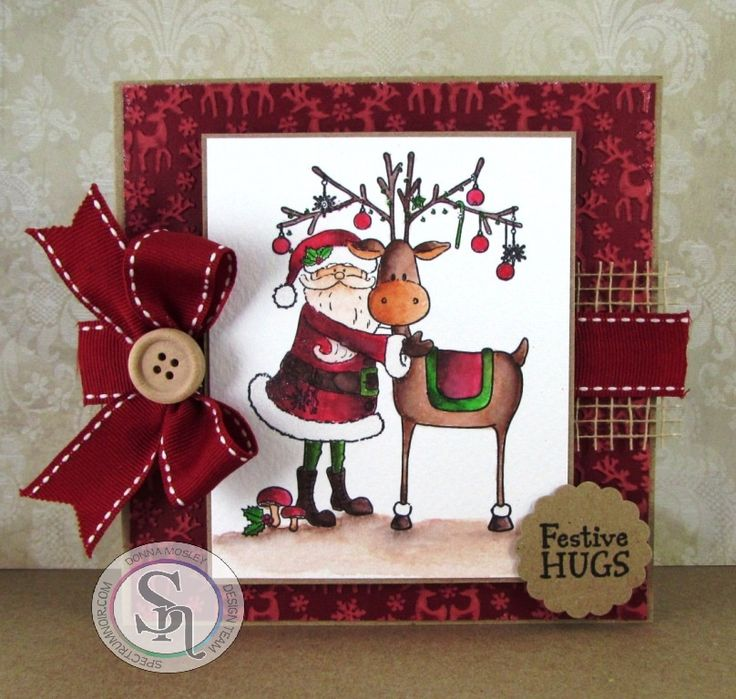 Square card made using Santa's Helper stamp set - Reindeer Forest 8 x 8 embossing folder - Red Berry, Holly Leaf, Harvest Moon, Smoked Quartz & Crystal Clear Sparkle Pens Designed by Donna Mosley #crafterscompanion #spectrumnoir