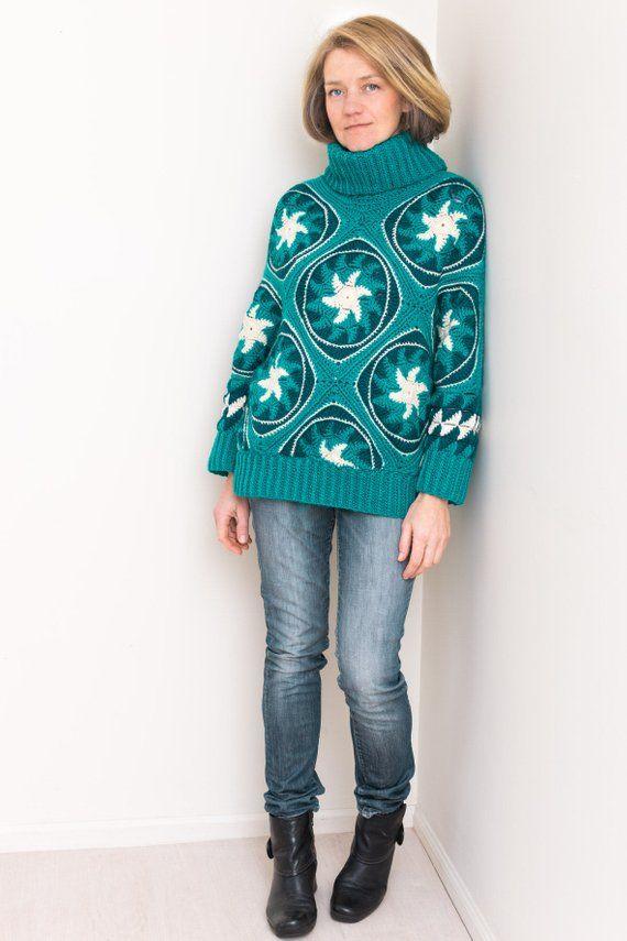 Mascot Crochet Sweater Pattern Women Loose Fitted Cowl Etsy