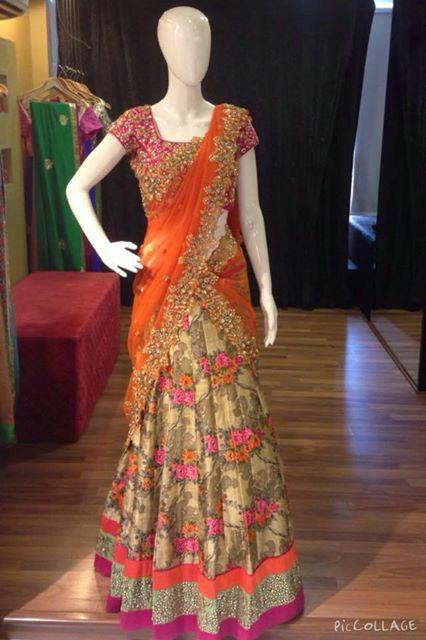 Designer half saree by Aurum studio