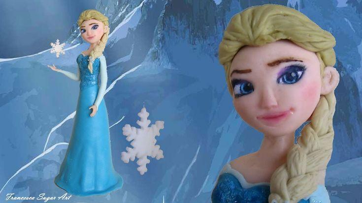 Fondant Disney Elsa Frozen Cake Topper - Elsa in Pasta di Zucchero per u...