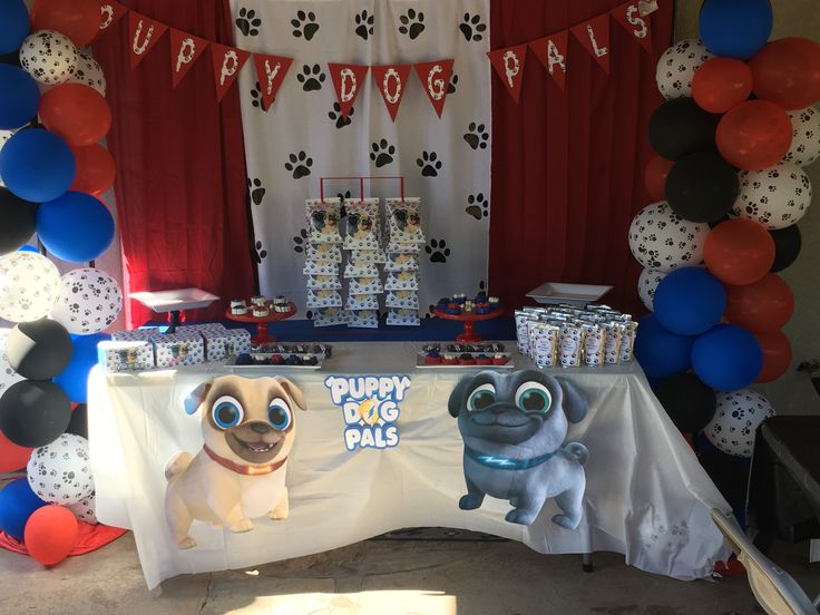 Puppy Dog Pals Sweet Table And Backdrop In 2019 Baby Boy 1st Birthday Party Puppy Birthday