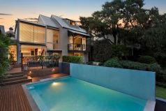 Outdoor mosaic tiled pool, Annandale, above ground, architecturally designed home, Pilcher Residential