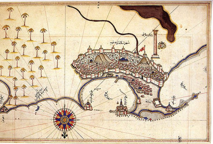 map of Alexandria by Piri Reis, 16th century Ottoman Admiral famous for his maps and charts collected in his Kitab-ı Bahriye (Book of Navigation) #history #maps