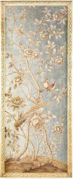 Silverleaf and Gold Chinoiserie Wall Panel 2-ON BACKORDER UNTIL DECEMBER 2015