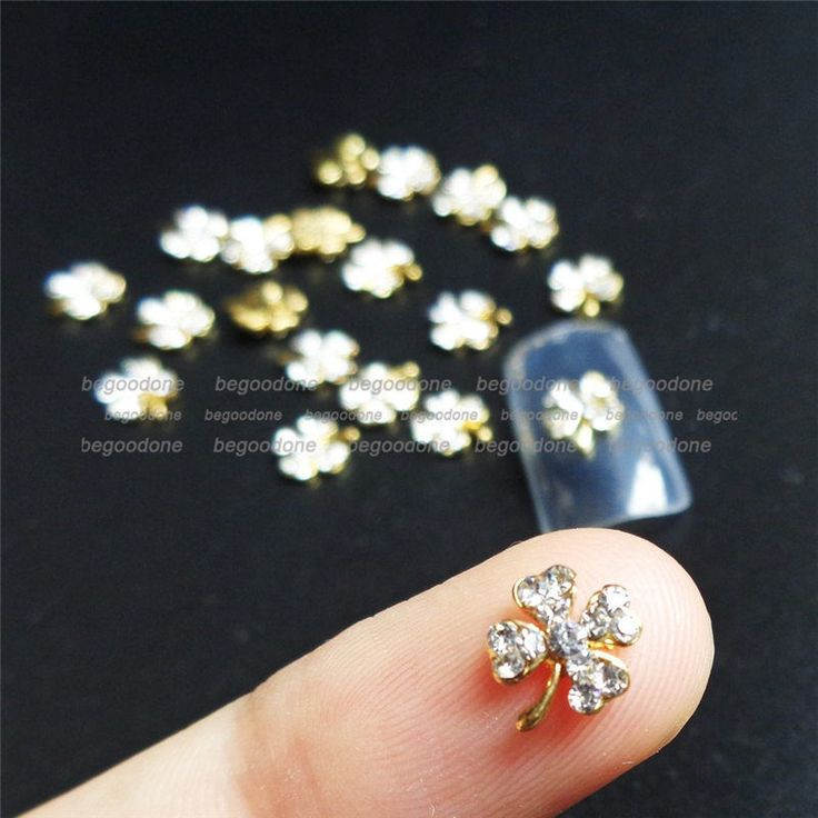3D Gold Alloy Nail Art Decoration Charms Clover Nail Tips Rhinestone Beads 10pcs #Unbranded