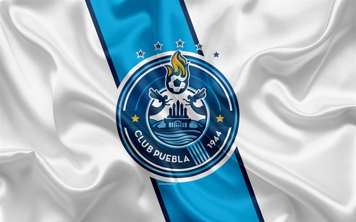 Download wallpapers Puebla FC, 4K, Mexican Football Club, emblem, logo, sign, football, Primera Division, Mexico Football Championships, Puebla de Zaragoza, Mexico, silk flag