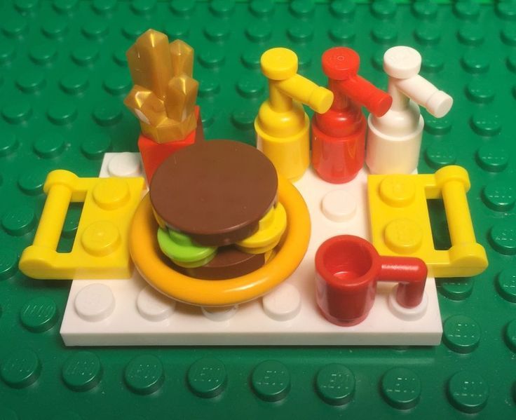 Lego New Reddish Brown Wheat Hamburger,French Fry,condiment Sauce,food Tray Set #LEGO