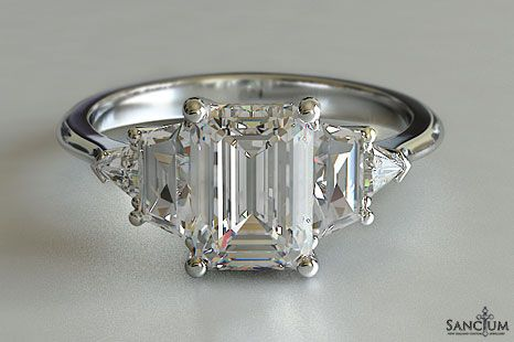 Emerald Cut Engagement Ring Five Stone