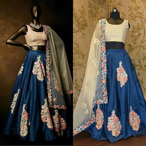 Banglory silk Lehenga with thread work
