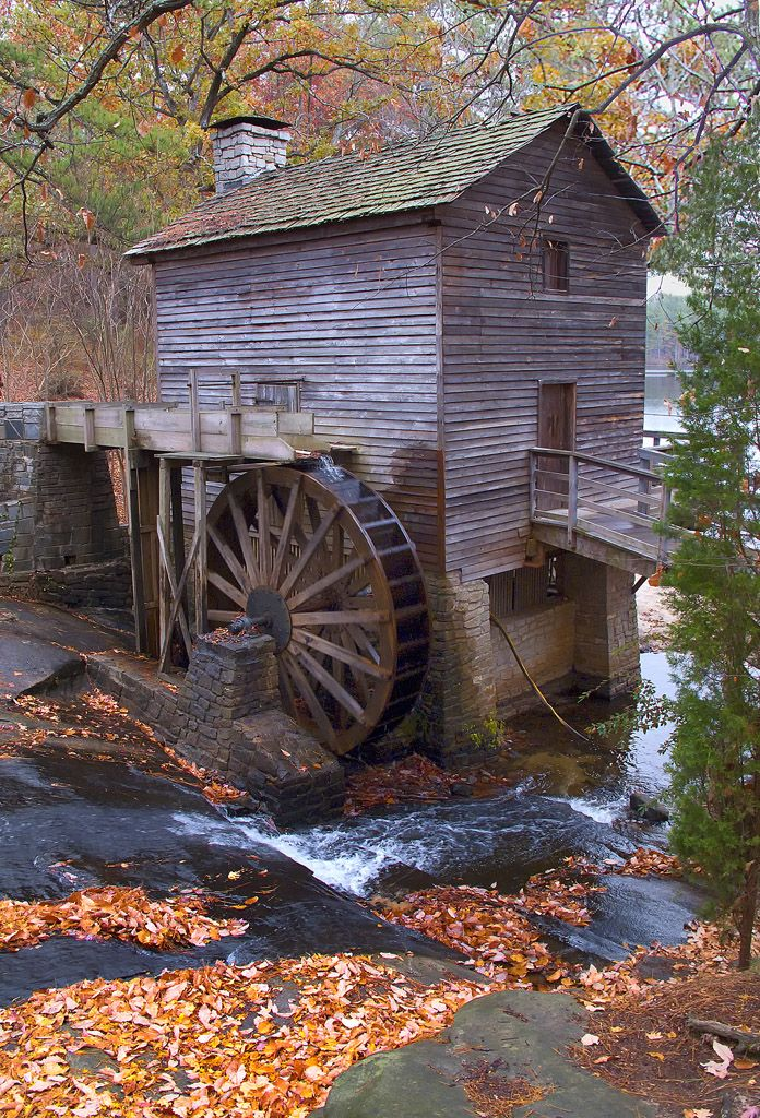 Stone Mountain Mill is located on the east side of the mountain in Stone Mountain Park, Georgia. The century-old mill was moved to the Park from its original site near Ellijay, Georgia in 1965.  One of the most picturesque spots in the Park, it makes a great place for picnics and taking pictures.