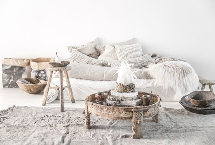 Knitted cushions white interiors | Spell Blog