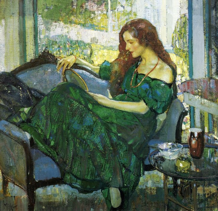 "Richard Edward Miller : Miss ""V"" in Green 1920  http://www.the-athenaeum.org/art/display_image.php?id=84267"