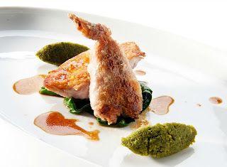 Denny Chef Blog: Quaglia confit al profumo di finocchietto marino, pesto di pistacchi, colatura di alici di cetara e bietole al peperoncino
