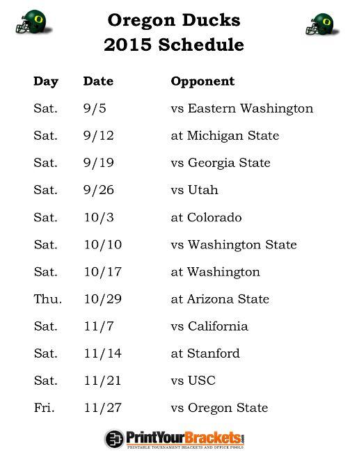 Printable Oregon Ducks Football Schedule 2015