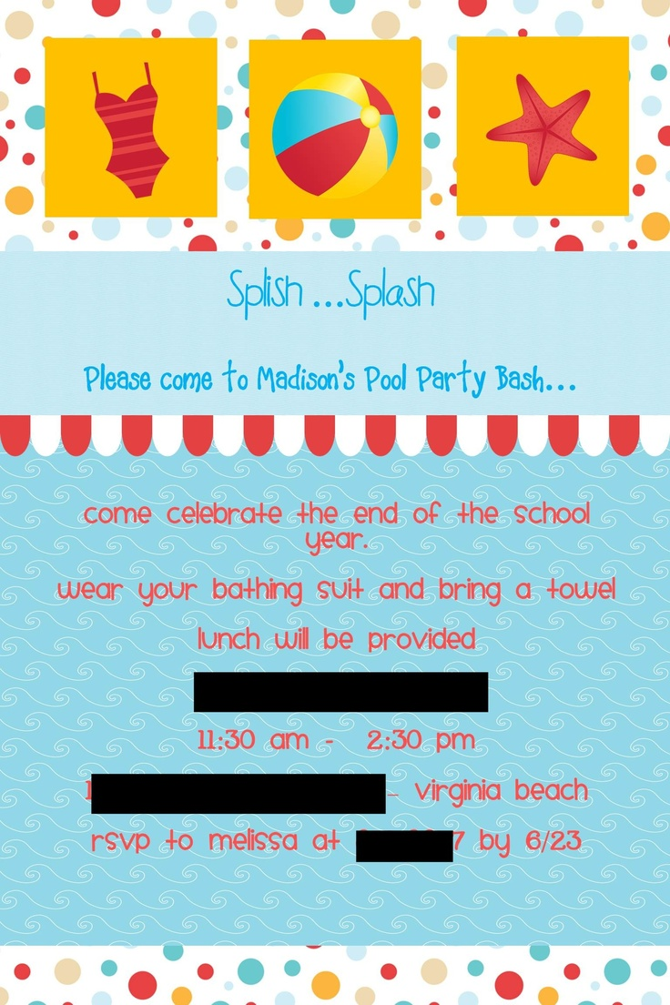 Pool party invitations I designed - Can be found on Just the 3 of Us blog - http://justthe3ofus-melissachrismaddie.blogspot.com/2011/06/madisons-pool-party.html