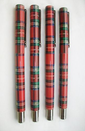 Red Stewart Tartan Pens