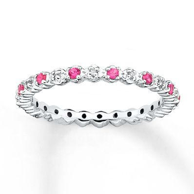 Stackable Ring Lab-Created Ruby&Diamond Sterling Silver
