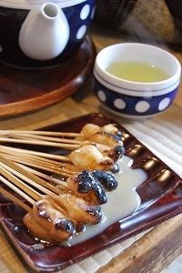 Japanese grilled mochi with sweet sauce, I love these!