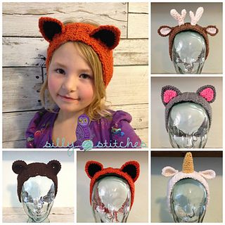 Fox, unicorn, deer, cat, kitty & bear headband ear warmer crochet pattern!