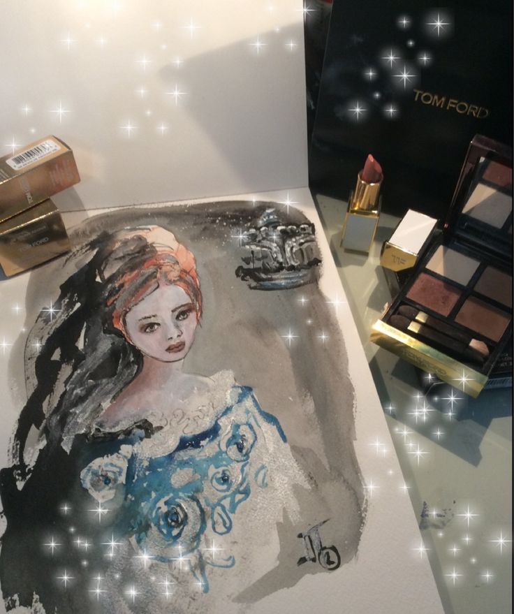 Fashion illustration with beauty products Tom Ford. Carousel,tom ford drawing