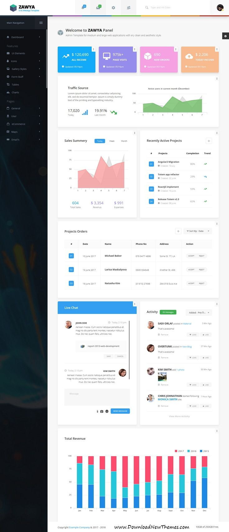 Zawya is clean and modern material design responsive bootstrap #dashboard template for custom #admin panels, #CMS, CRM, SaaS, and web applications website to live preview & download click on image or Visit  #uxdesign