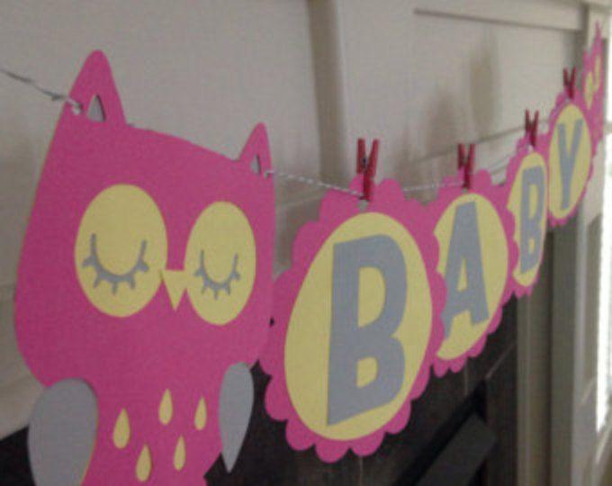 Búho bebé Banner: Banner de ducha de bebé búho, cumpleaños, buho Baby fiesta, nueva bandera, buho bandera rosa, amarillo, gris buho Banner, Banner de bebé buho
