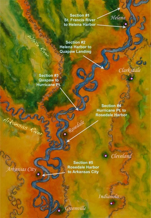 Lower Mississippi River Map Helena to