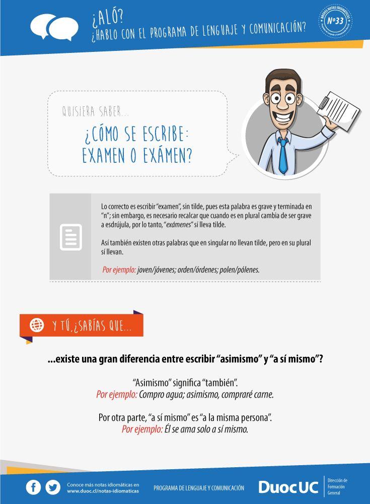 ¿Cómo se escribe: examen o exámen? - Breves Notas Idiomáticas | Duoc UC